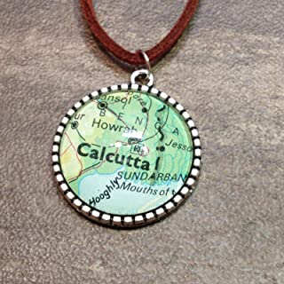 KOLKATA Calcutta HOWRAH WEST Bengal India Map Pendant Silver Necklace Atlas GH-492