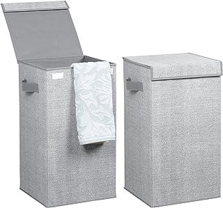 mDesign panier à linge pliable polypropylène respirant (lot de 2) – sac pour lessive design jute, couvercle et poignées – ...