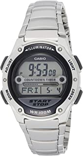 Casio Men's Black Dial Stainless Steel Band Watch W-756D-1AVEF