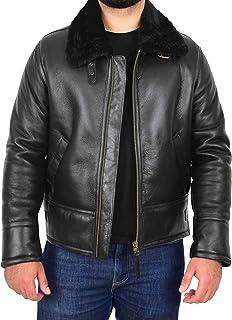 Mens B3 Original Sheepskin Jacket Pilot Top Gun Aviator Style Oscar Black