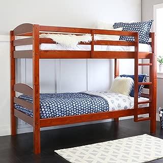 WE Furniture Classic Wood Twin Bunk Kids Bed Bedroom, Cherry Brown