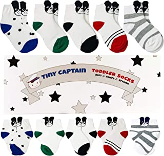 Tiny Captain Toddler Boys Socks 1-3 Year Old Dog Sock 5 Pack Combed Cotton