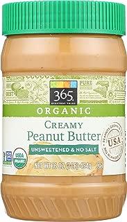 365 Everyday Value, Organic Creamy Peanut Butter, Unsweeteend & No Salt, 16 oz