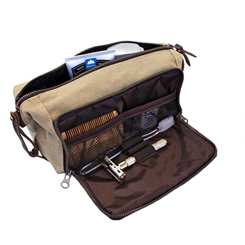 DOPP Kit Mens Toiletry Travel Bag YKK Zipper Canvas   Leather (Medium,  Khaki - d5ad67bceb