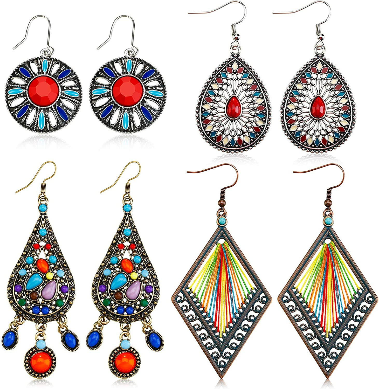 4 Pairs Bohemian Vintage Dangle Earrings Max 86% OFF Retro Earrin Rhinestone Max 41% OFF