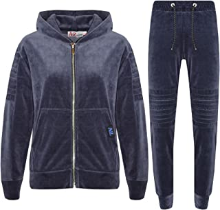 Boys Tracksuit Kids Designer Plain Velour Hoodie Bottom Jog Suit Joggers 7-13 Yr