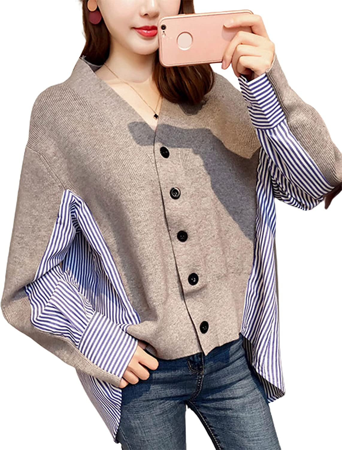 Uaneo Womens V Neck Long Sleeve Button Down Stripe Color Block Knit Cardigan Shirt Blouse (Grey-OneSize)
