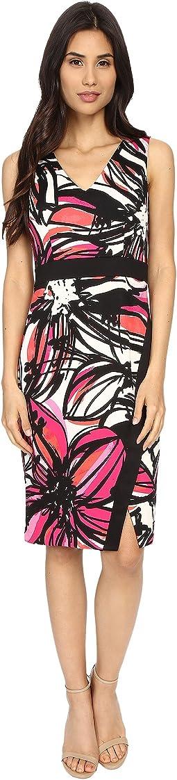 Scribble Daisy Printed Scuba Sheath w/ Scissor Skirt