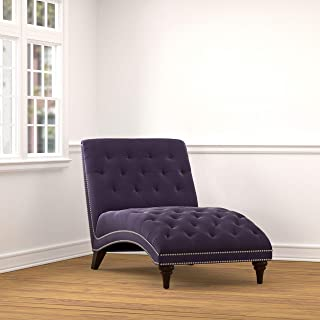 Purple Velvet Chaise Lounge Solid Traditional Polyester Upholstered Espresso Finish Nailheads Tufted Cushions