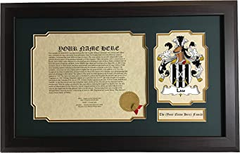Lau - Coat of Arms and Last Name History, 14x22 Inches Matted and Framed