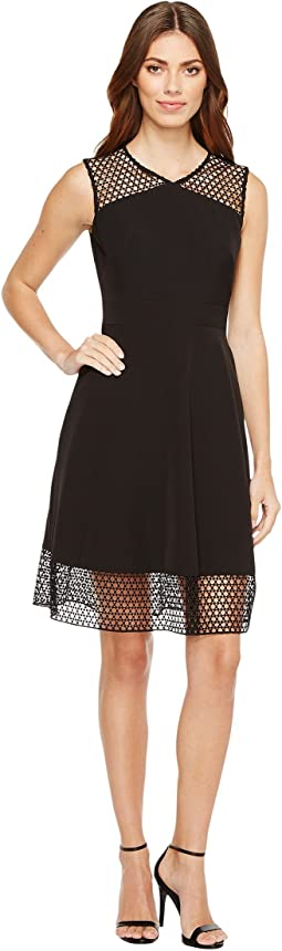Embroidery Trim Fit-and-Flare Dress