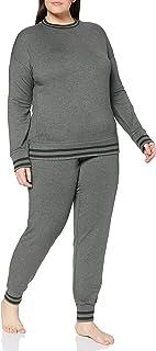 Schiesser Women's Sleep Lounge Anzug Pajama Set, Khaki-Mel