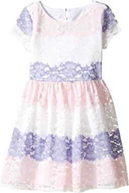 Stripe Lace Dress w/ Cut Out Back (Big Kids)