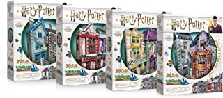 Wrebbit 3D - Harry Potter Diagon Alley Collection 3D Jigsaw Puzzles - Ollivander's Wand Shop, Quality Quidditch Supplies, Madam Malkin's and Weasleys' Wizard Wheezes -Bundle of 4- Total of 1175 Pieces