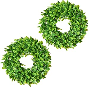 Lvydec 2 Pack Artificial Boxwood Wreath - 11