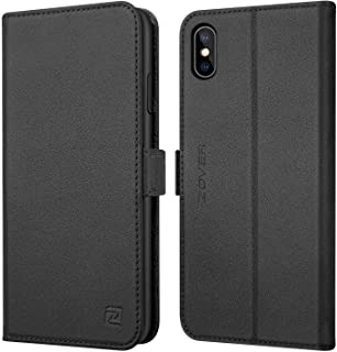 ZOVER Compatible iPhone Xs Max Case Leather Wallet Auto Sleep/Wake Folio Flip Cover Genuine Leather Kickstand Feature Card Slots Gift Box Black