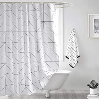 Seavish Fabric Shower Curtain, White Geometric Quick Drying 72 x 72 inch Bathroom Shower..