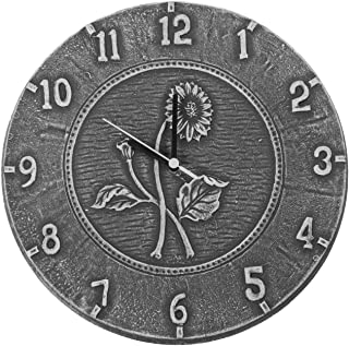 Poolmaster Indoor and Outdoor Clock, 12-Inches, Antique Black Terra Cotta