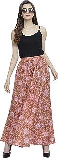 Enchanted Drapes Orange Floral Cotton Women's Skirt