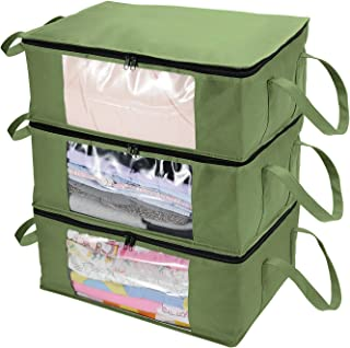 CCidea Clothes Storage Bag Organizer-3 Pack, with Reinforced Handle, Great for Comforters, Blankets, Bedding, Under Bed Storage Containers (Medium, ArmyGreen)