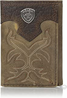 Men's Boot Embroidery Tri-Fold Brown