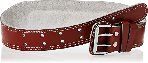 AURION Unisex Adult POWER-Small-Brown-Gym belt Genuine Leather Weight Lifting Belt Body Fitness Gym Back Support Power Lifting Belt - Brown, Small