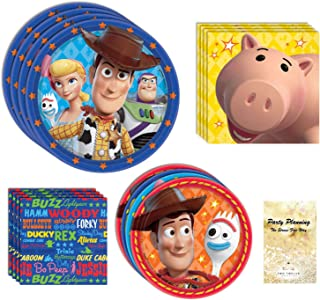 Toy Story 4 Party Supplies, Woody, Buzz, Bo Peep, and Forky, 16 Birthday Guests, 65 Pieces, Disposable Paper Dinnerware, P...
