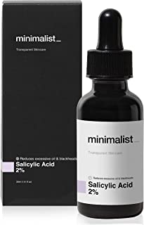 Minimalist 2% Salicylic Acid Serum For Acne, Blackheads & Open Pores | Reduces Excess Oil & Bumpy Texture | BHA Based Exfo...