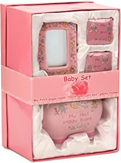 BRUBAKER My First Piggy Bank Gift Set for Baby Girl - 4 Pcs Keepsake Gift Set Includes Piggy Bank, First Curl, First Tooth and Photo Frame - Pink