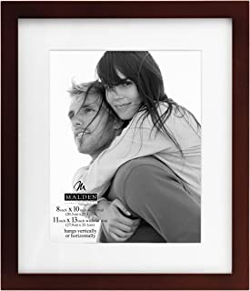 Malden International Designs Matted Linear Classic Wood Picture Frame, Walnut ( 8x10-Inches  )