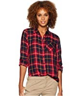 Long Sleeve One-Pocket Shirt w/ Bust Darts and Hi-Lo Bottom