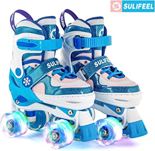 SULIFEEL Frozen Snow 4 Size Adjustable with 8 Wheels Light up Roller Skates for Girls Boys and Kids