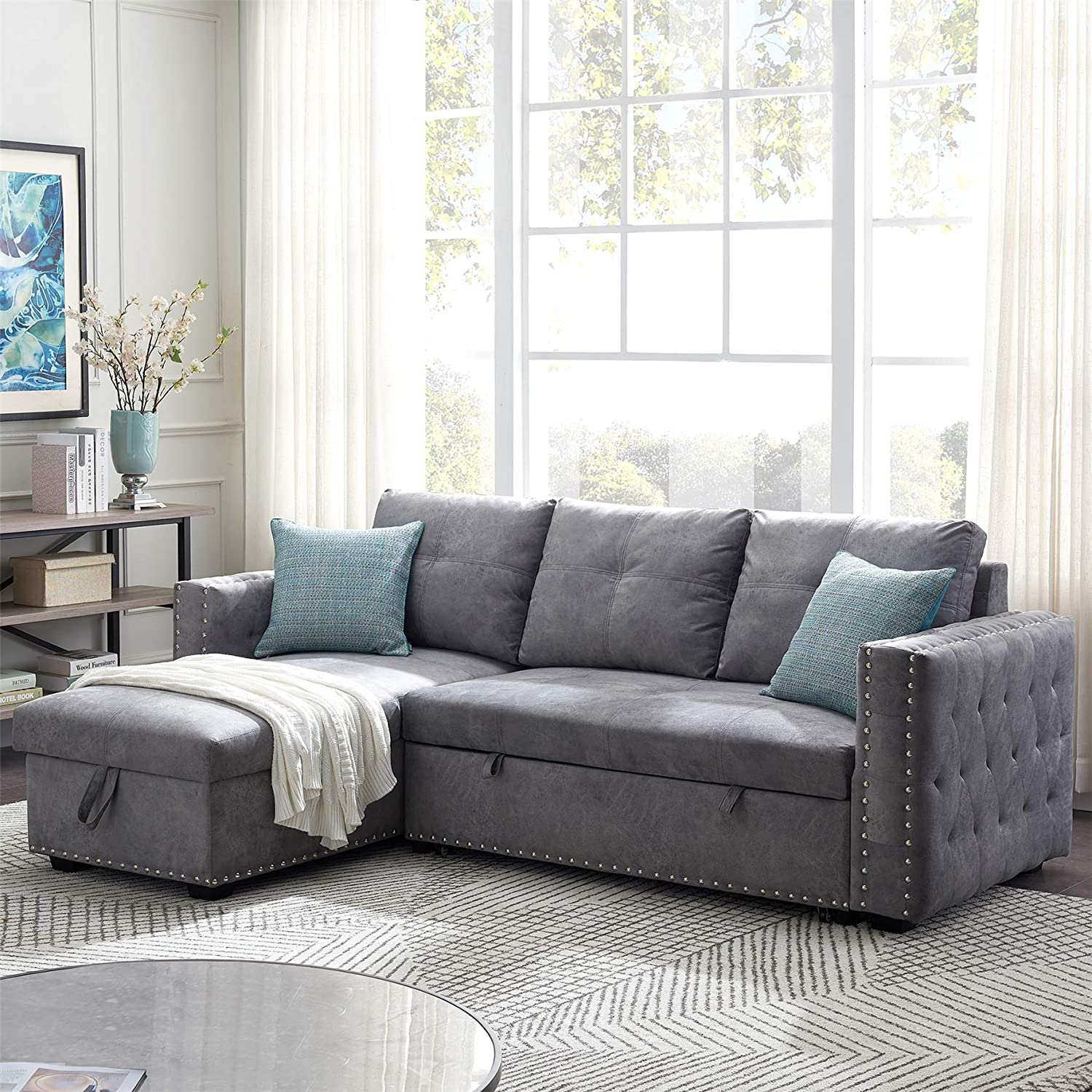 Reversible 5 popular Sleeper Sofa Sectional Pull with Out Financial sales sale Bed