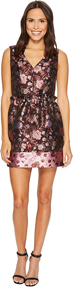 Laundry by Shelli Segal - Printed V-Neck Paperbag Waist Detail Dress
