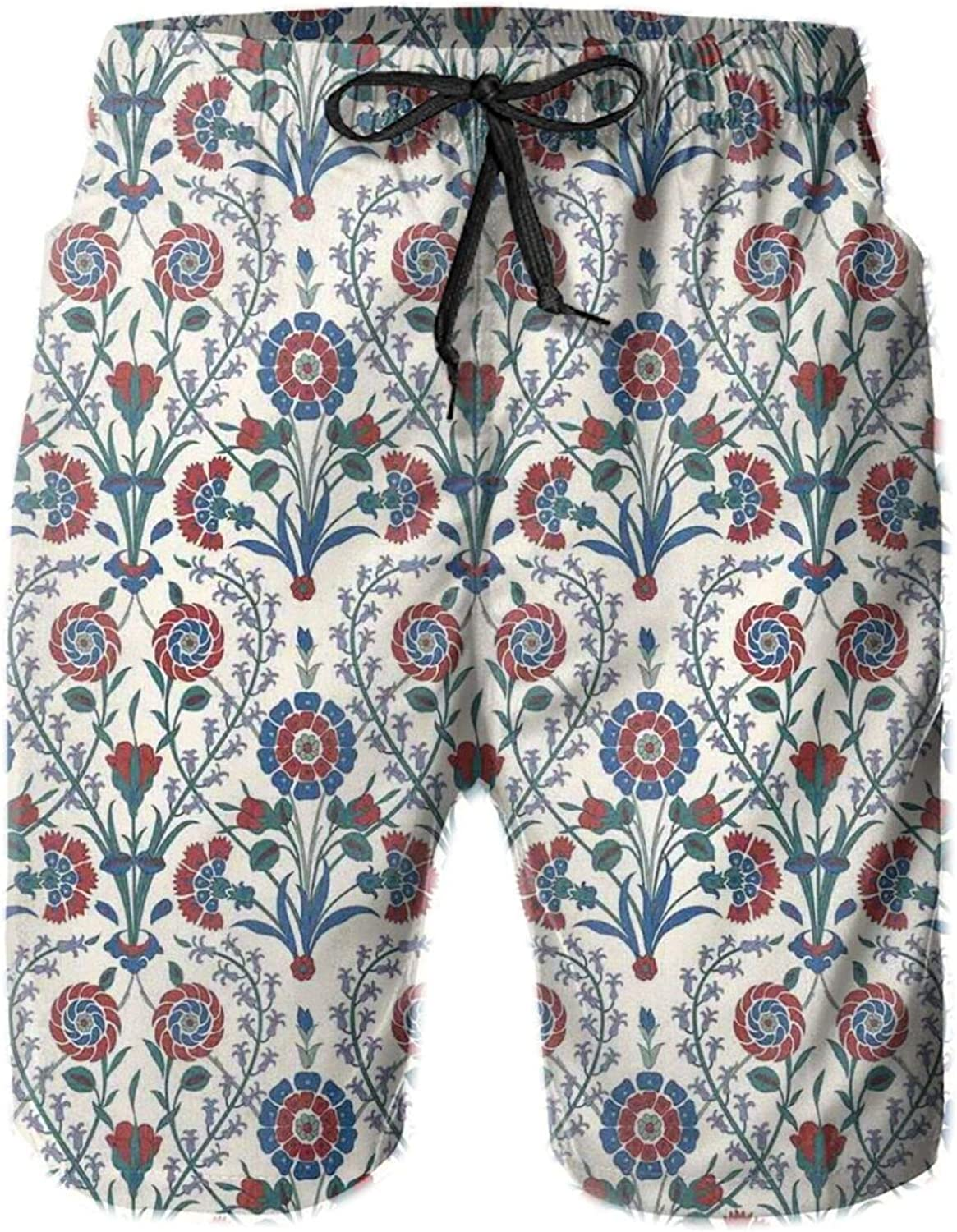 Old Ethnic Floral Ornament Pattern with Swirled Florets and Leaf Turkish Artwork Mens Swim Shorts Casual Workout Short Pants Drawstring Beach Shorts,XXL