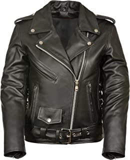 M-BOSS MOTORCYCLE APPAREL-BOS22506-BLACK-Women's classic biker leather jacket wth zipout liner-BLACK-LARGE