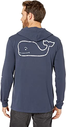 Long Sleeve Vintage Whale Hoody Pocket Tee