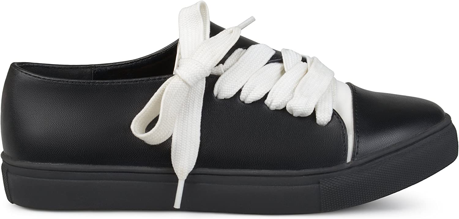 Brinley Co. Womens Diagonal Lace-up Vegan Leather Sneakers