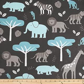 Shannon Fabrics Minky Cuddle Jungle Tales Fabric by The Yard, Topaz