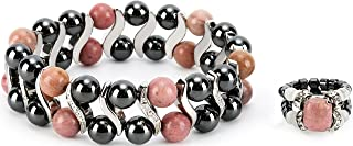 Elegant Womens Hematite Magnetic Therapy & Healing Stone Bracelet & Ring Set Pain Relief for Arthritis and Carpal Tunnel (Rhodonite)