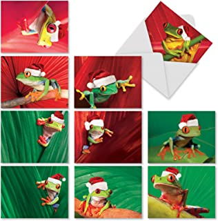 Yule Frogs - 10 Pack of Frog Season's Greetings Cards with Envelopes (4 x 5.12 Inch) - Colorful Animals in Santa Hats, Merry Christmas Note Cards - Holiday Stationery Notecards M1754XS