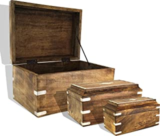 Nested Wooden Trunk Box Chest with Metal Inlay (Set of 3) | Decorative Treasure Stash Box Old-Fashioned Antique Vintage Style for Birthday Parties Wedding Decoration Shelf (Set of 3 (Brown))