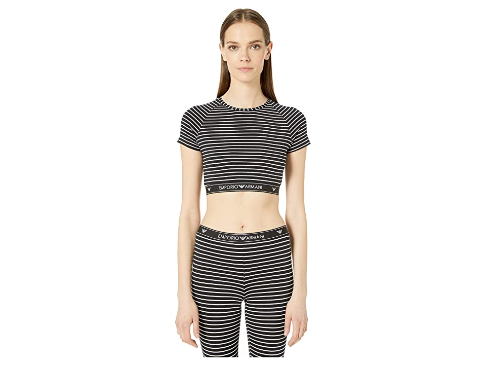 Emporio Armani St Tropez Mon Amour Top (Black Stripe/White) Women