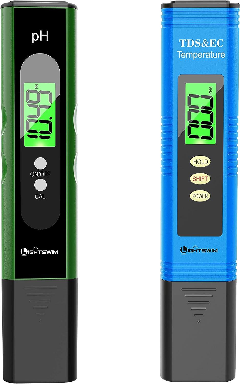 Lightswim Probador de calidad del agua, medidor de pH con resolución de alta precisión 0.01, medidor de temperatura 3 en 1 TDS + EC + para agua potable, acuario, piscina, spa (negro)