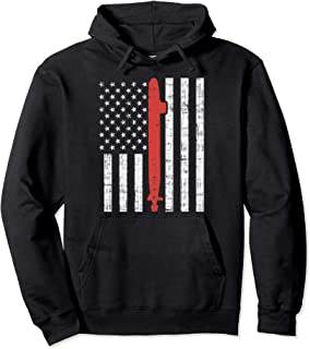 US Navy Submarine USA Flag Red Vessel Vintage Veteran Gift Pullover Hoodie