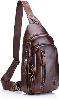 Genuine Leather Sling Bag,Full Grain Leather Casual Crossbody Shoulder Backpack Travel Hiking Vintage Chest Bag Daypacks for Men (Coffee)