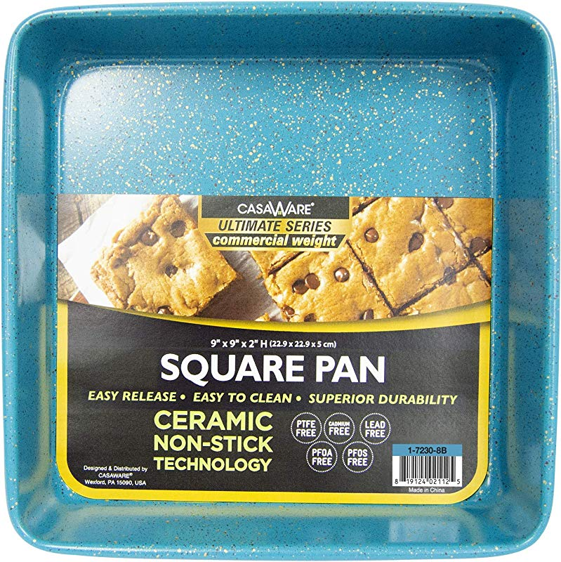 CasaWare Ceramic Coated NonStick Heavy Weight 9 Inch Square Cake Pan Blue Granite