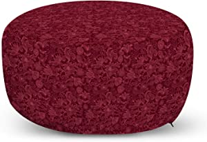 Lunarable Burgundy Ottoman Pouf, Cheerful Nature Inspired Gardening Pattern with Blooming Flowers Ornate Style, Decorative Soft Foot Rest with Removable Cover Living Room and Bedroom, Burgundy Coral