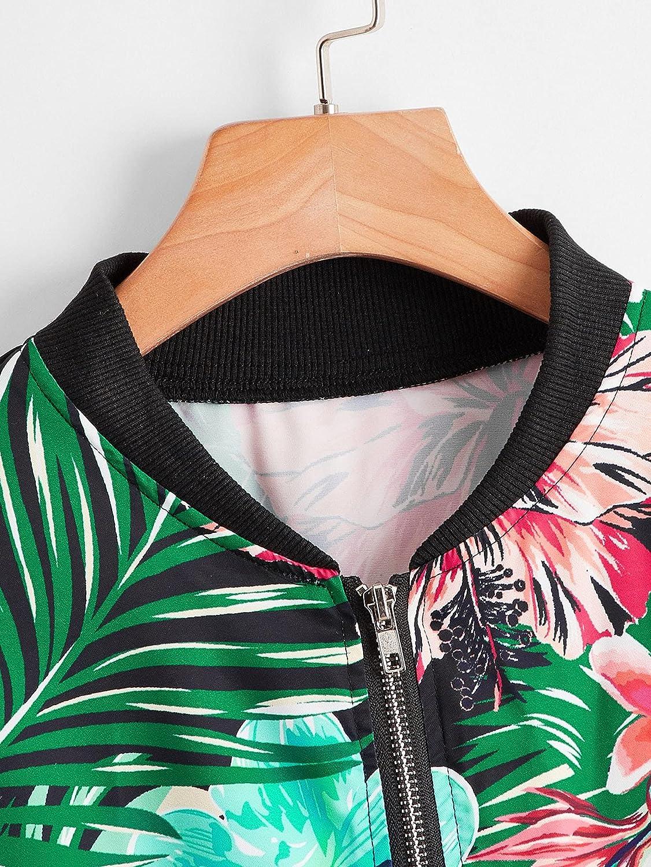 Milumia Women's Long Sleeve Baseball Floral Print Tropical Print Zip Up Bomber Jacket