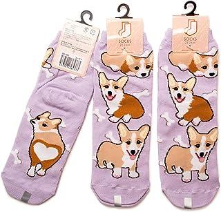 3足セット コーギー レディース ソックス Corgi Socks ペットとアニマルソックス Pet & Animal Socks SD-3002 ペットラバーズ ライトパープル